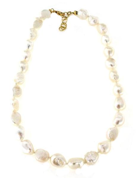 Collana con perle FWP barocche naturali in argento 925 dorato -0