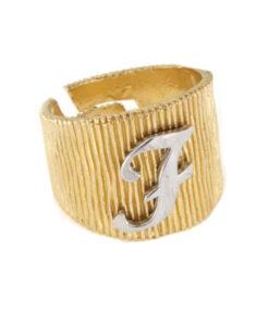 Anello in argento 925 dorato con lettera F-0
