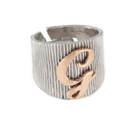 Anello in argento 925 bianco con lettera G-2475