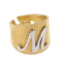 Anello in argento 925 dorato con lettera M-0