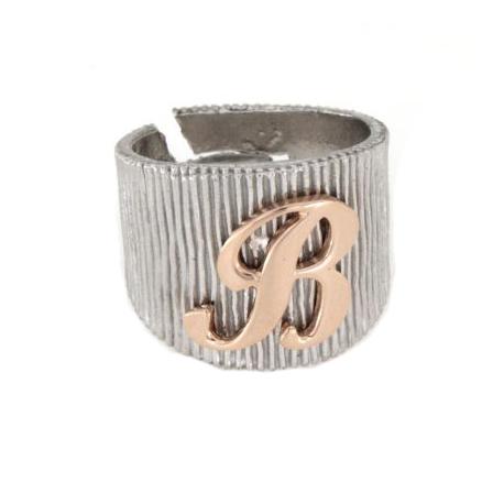 Anello in argento 925 bianco con lettera B-2476