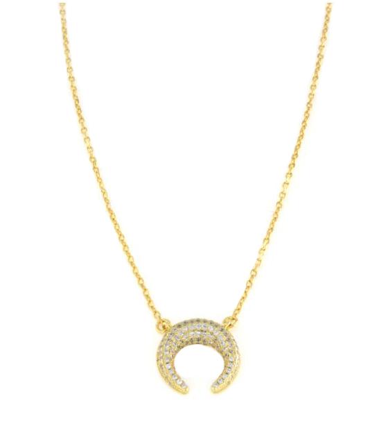 Collana con luna pendente in argento 925 dorato con zirconi bianchi-0