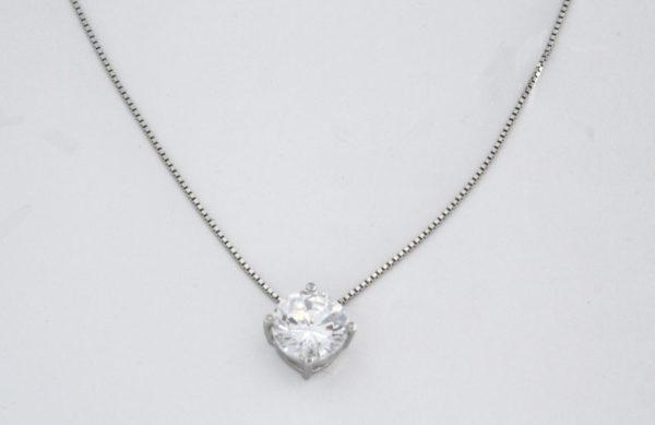 Collana con pietra zirconica in argento 925 bianco-0