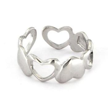 Anello in argento 925 bianco con cuori -0