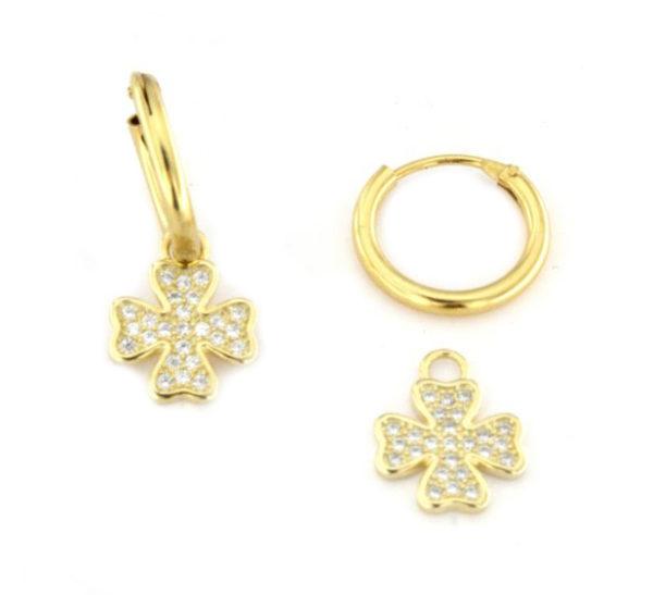 Orecchini a cerchio con quadrifogli pendenti in argento 925 dorato-0