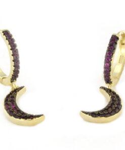 Orecchini a cerchio con lune pendenti in argento 925 dorato-0