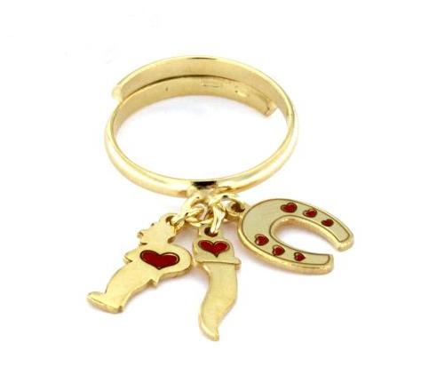 Anello in argento 925 dorato con pendenti-0