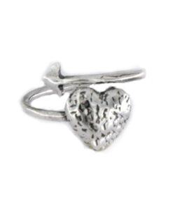 Anelllo cuore e freccia in argento 925 bianco-0