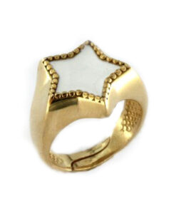 Anello con stella in argento 925% dorato-0