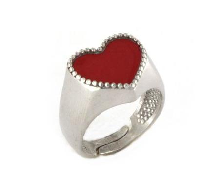 Anello con cuore in argento 925% bianco-0