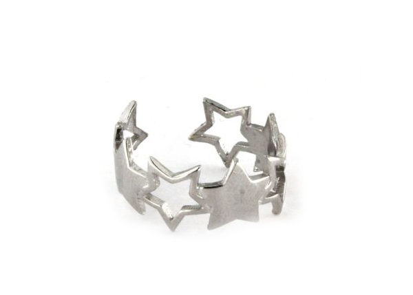 Anello fascia di stelle in argento 925 bianco-0
