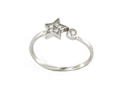 Anello stella in argento 925 bianco-0