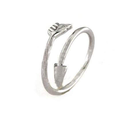 Anello regolabile freccia in argento 925 bianco-0