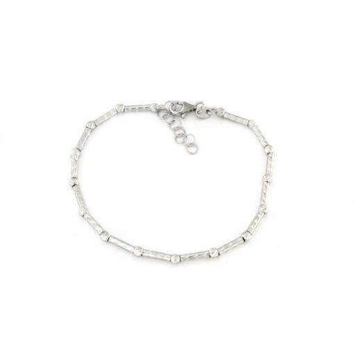 Bracciale con sfere e cilindretti diamantati in argento 925 bianco-0