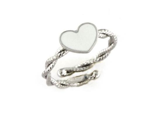 Anello solitario con cuore e filo torchon in argento 925 bianco -0