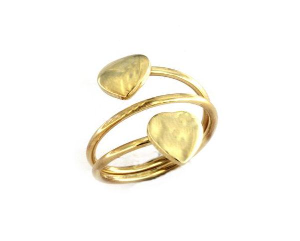 Anello con cuori in argento 925 dorato-0