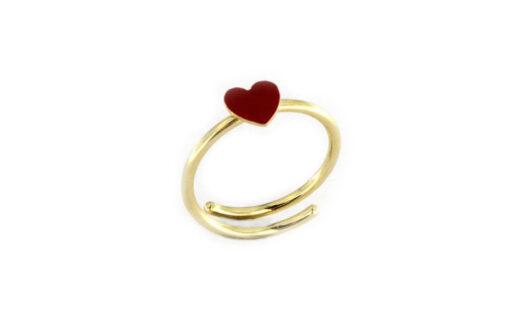 Anello con cuore in argento 925% dorato-0