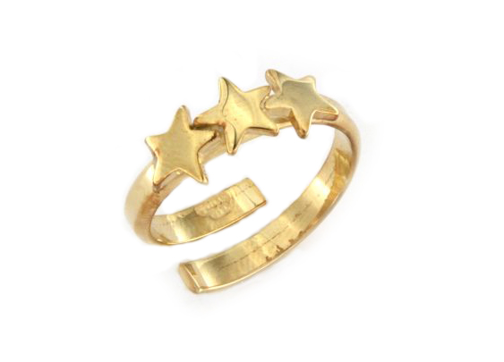 Anello con stelline in argento 925 dorato -0