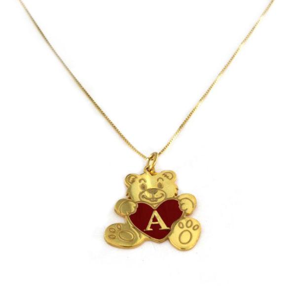 Collana con ciondolo a forma di orsetto in argento 925 dorato.-0