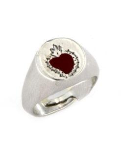 Anello con cuore sacro in argento 925 bianco-0