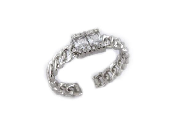 Anello groumette con zirconi in argento 925 bianco-0