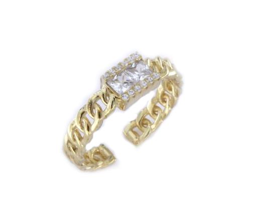 Anello groumette con zirconi in argento 925 dorato-0
