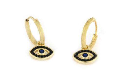 Orecchini a cerchio con occhi pendenti in argento 925 dorato-0