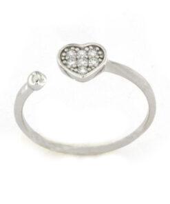 Anello cuore in argento 925 bianco-0