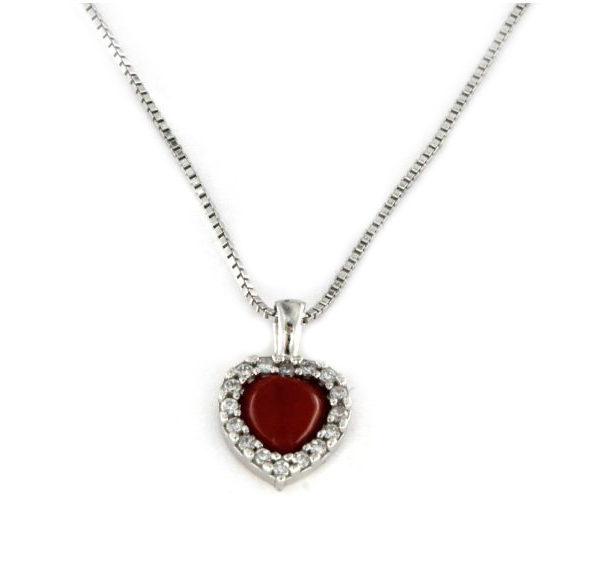 Collana con ciondolo a forma di cuore in argento 925 bianco-0